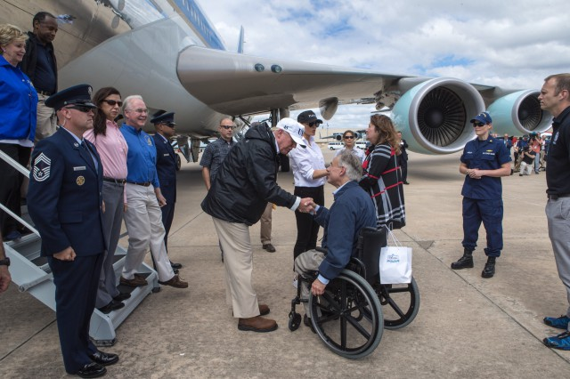 Governor Abbott And President Trump Receive Briefing And Give Update On Harvey Image
