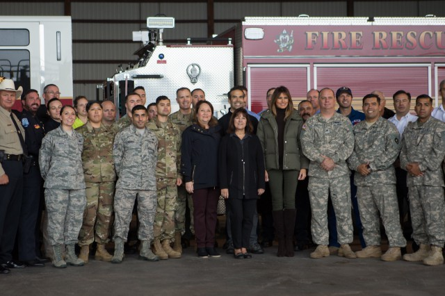 Texas First Lady Cecilia Abbott,Second Lady Karen Pence, First Lady Melania Trump greet First Responders of Hurricane Harvey at the Texas Gulf Coast.