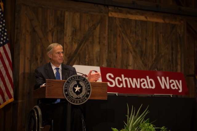 Governor Abbott delivers remarks at groundbreaking ceremony at Charles Schwab Westlake Campus.