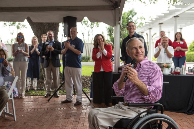 Image of Governor Greg Abbott and Texas educators at the Governor's Mansion.